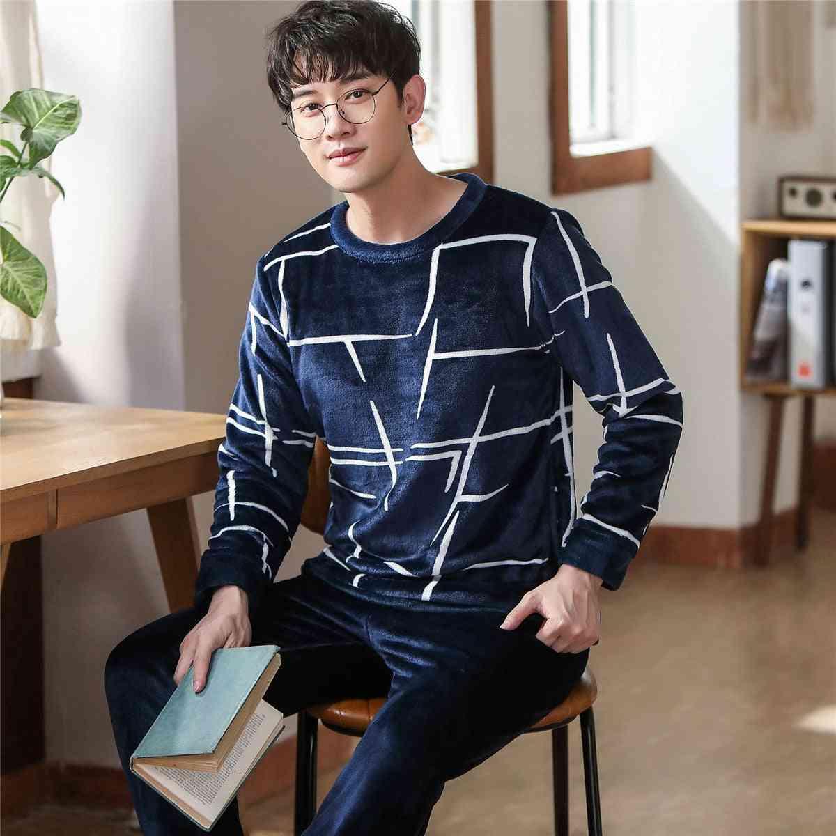 Winter Thicken Warm Soft Flannel Long-sleeve Sleepwear Pajamas