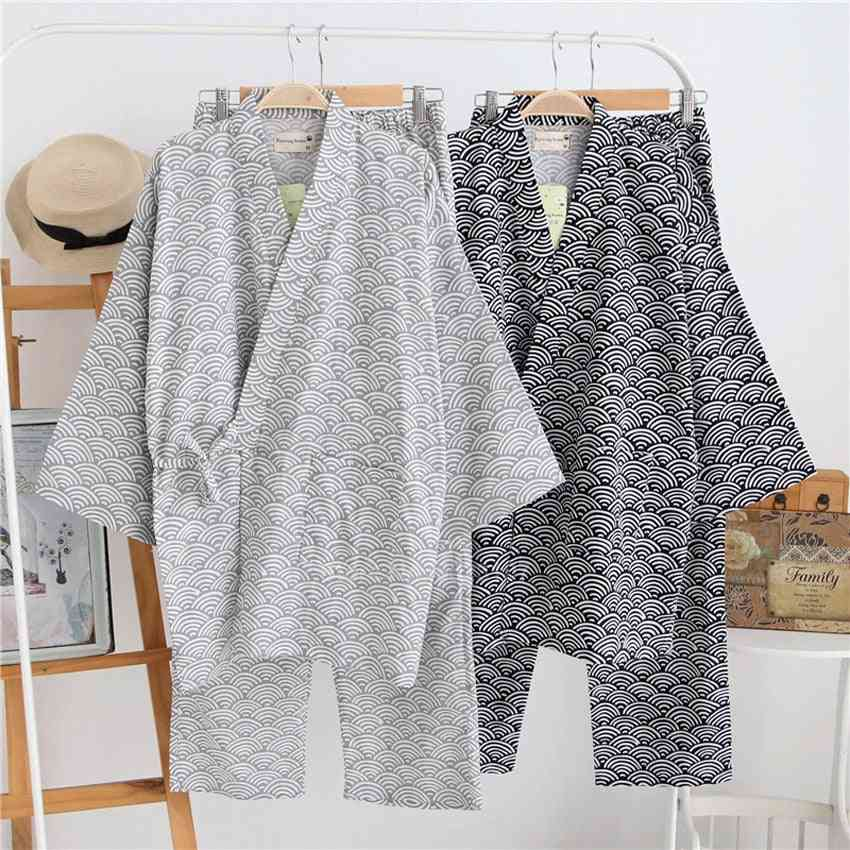 Japanese Traditional Pajamas, Wave Print V-neck Loose Style Sleepwear Trousers