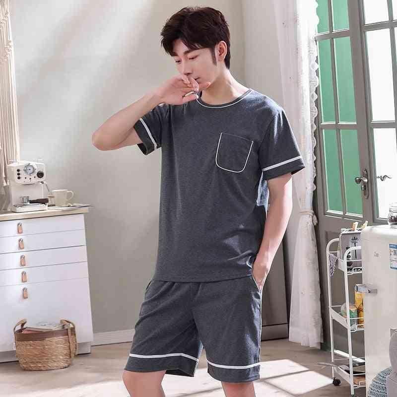 New O-neck Full Cotton Summer Short Sleeve Pajamas Set Nightwear