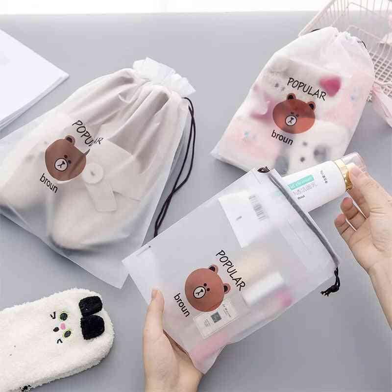 Transparent Drawstring Pouch, Cartoon Luggage Shoe, Cosmetic Pocket, Storage Bag