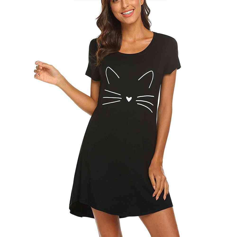 Letter Cute Sleep Shirt, Printed Dress, Short Sleeve, Nightgowns