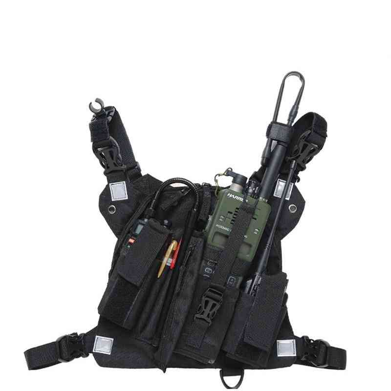 Chest Harness With Front Pack Pouch Holster Vest Rig For Walkie Talkie