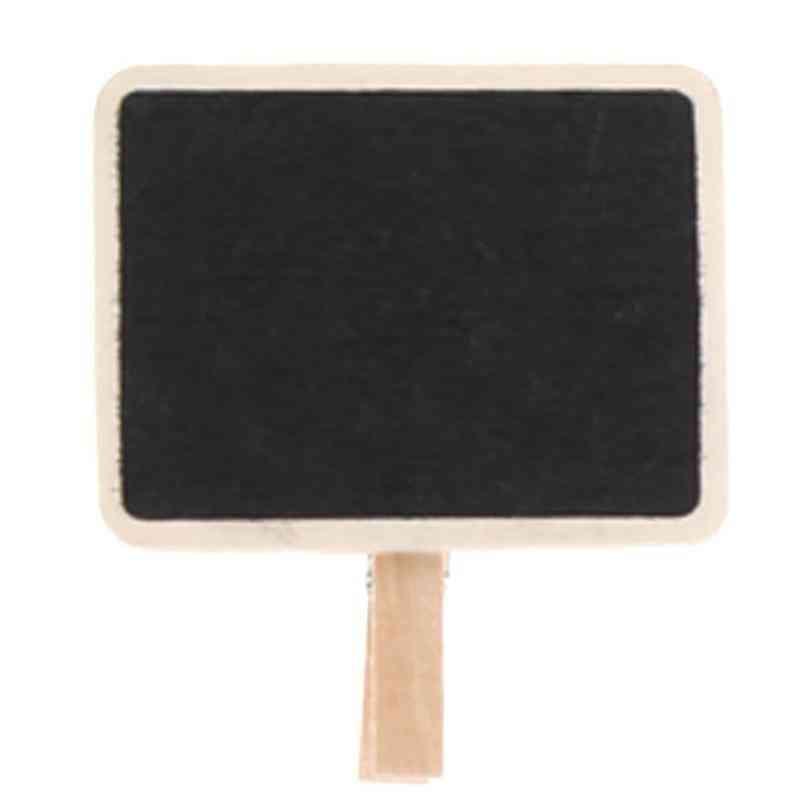 Mini Wooden Rectangle Chalkboard, Blackboard, Clamps Clip Tag Message - Board