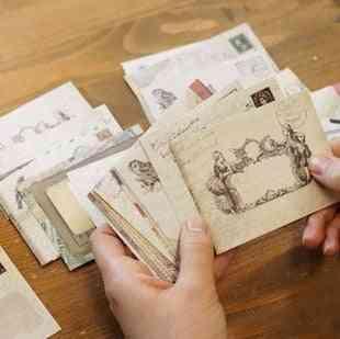 Vintage Small Mini Kraft Paper Window Envelopes
