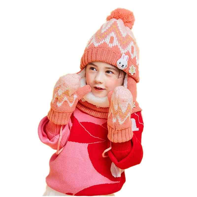 Winter Outdoor Warm Velvet Beanies Scarf, Hat & Glove Sets For