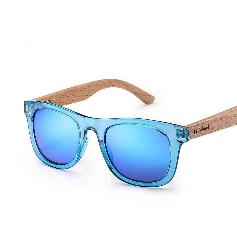 Multicolor- Frame Wooden Sunglasses For,