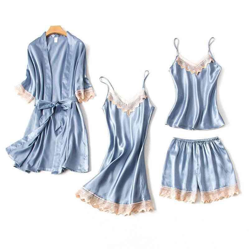 Lace Nightgown, Silk Sleepwear Bathrobe Elegant Pijama Robe Sets