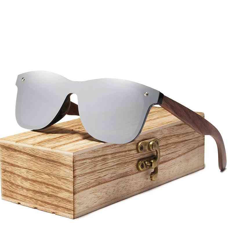 Polarized Walnut Wood Mirror Lens Sunglasses & Women