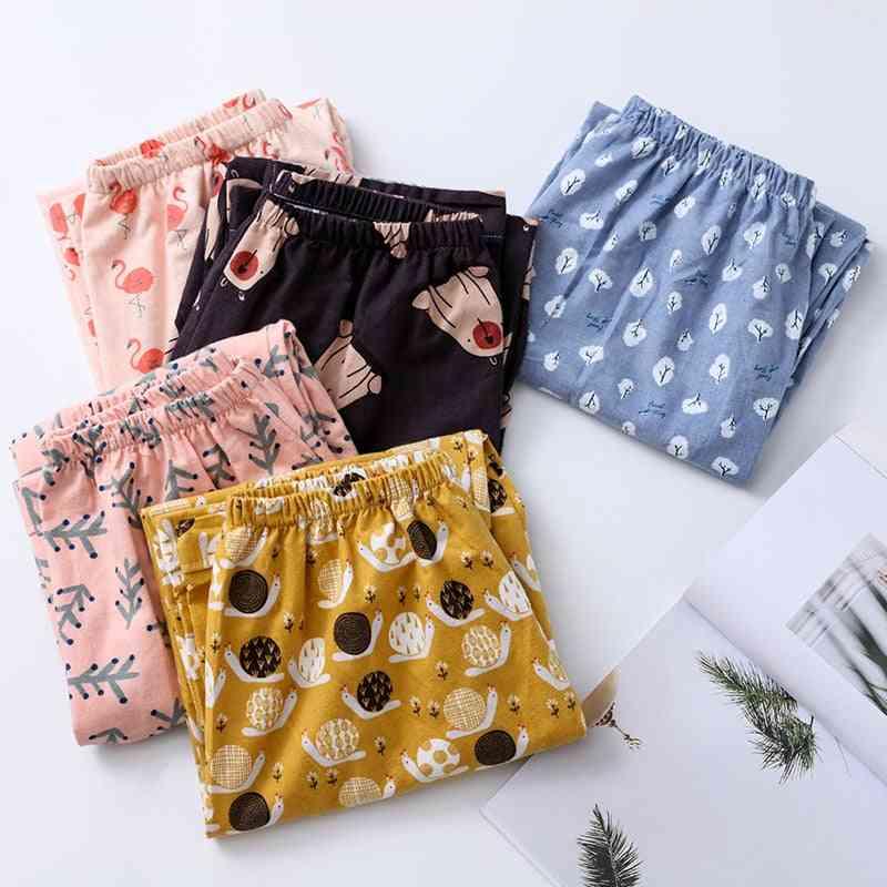 Women Printed Summer Cotton Comfortable Breathable Loose Pajama Pants