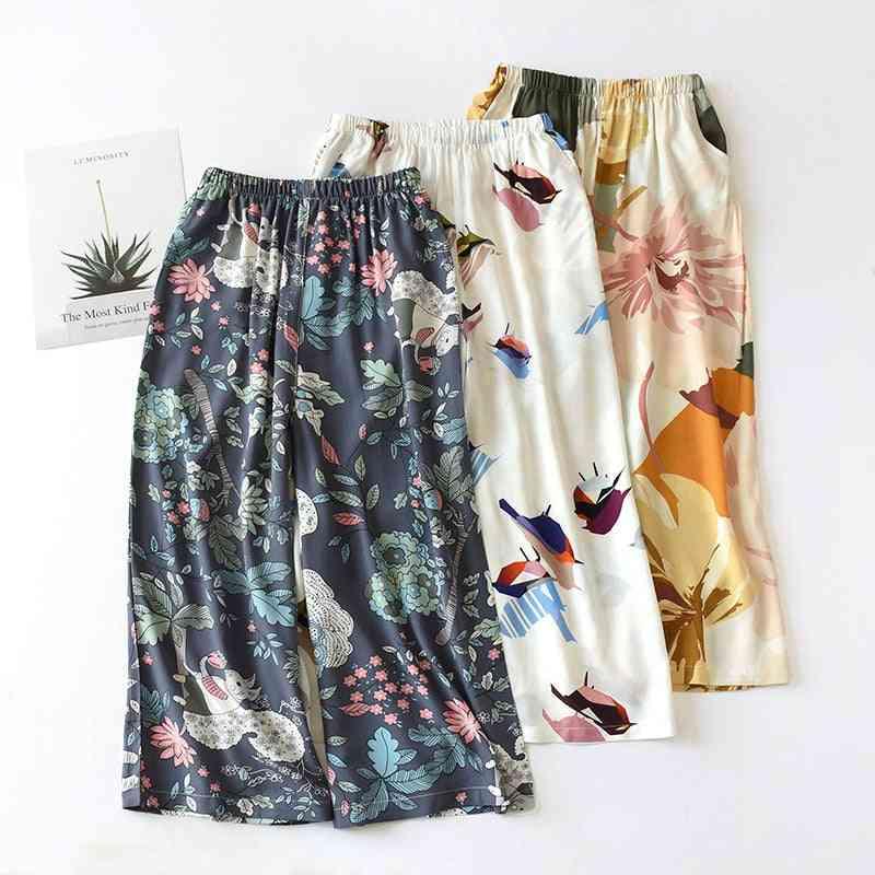 Summer Sleep Bottoms For Women, Viscose Print Loose Calf-length Pants