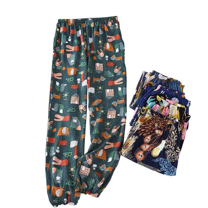 Spring And Summer New Women Floral Sleep Bottoms Comfort Loose  Pants