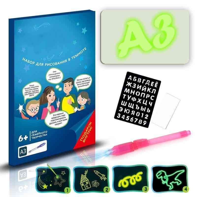Led Light Up Drawing Kit Developing Toy, Portable Draw Sketchpad Board