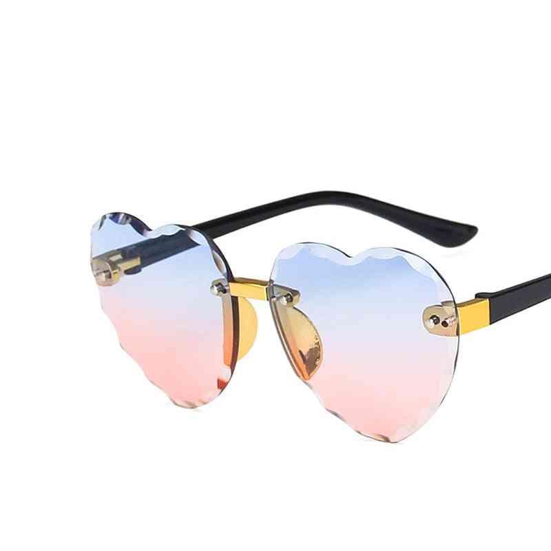 Cute Heart Rimless Frame Sunglasses, Fashion Uv-400 Protection Eyewear