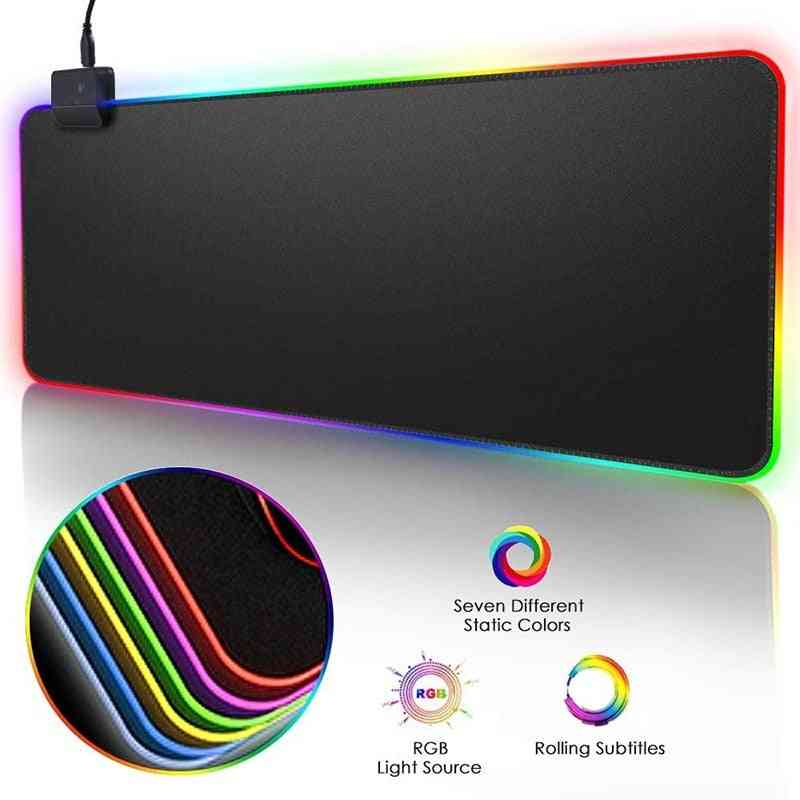 Rgb Gaming Led Computer, Mouse Pad Mat With Backlight Carpet For Keyboard