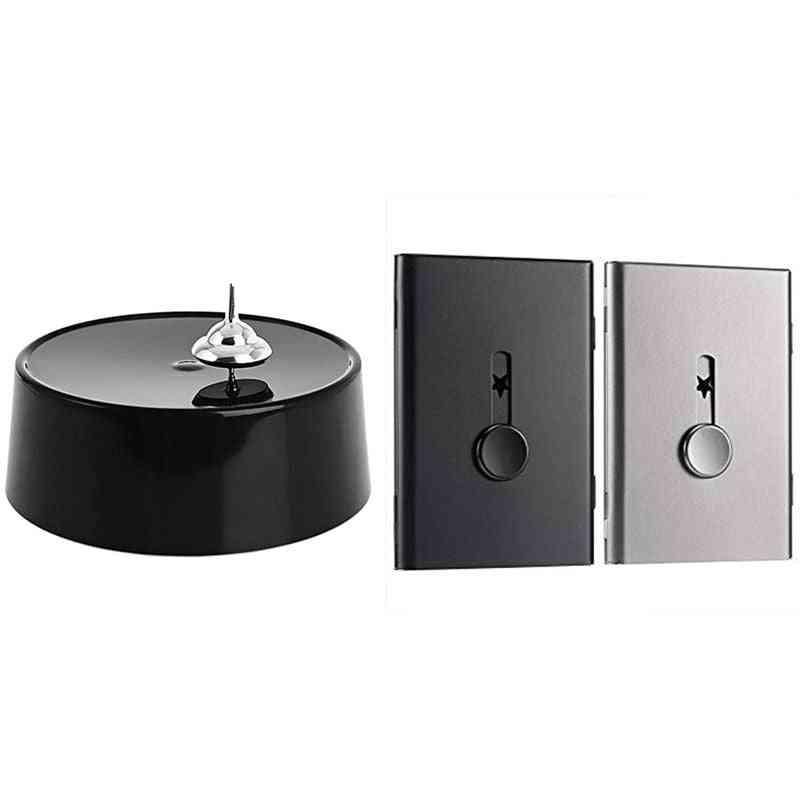 Stainless Steel, Slide-out Spinning Rotating, Desktop Decoration & Business Card Holder