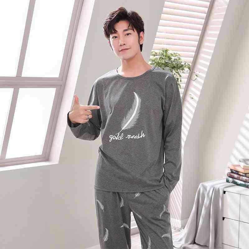 Spring Men Long Sleeve Full Cotton Pajama Set