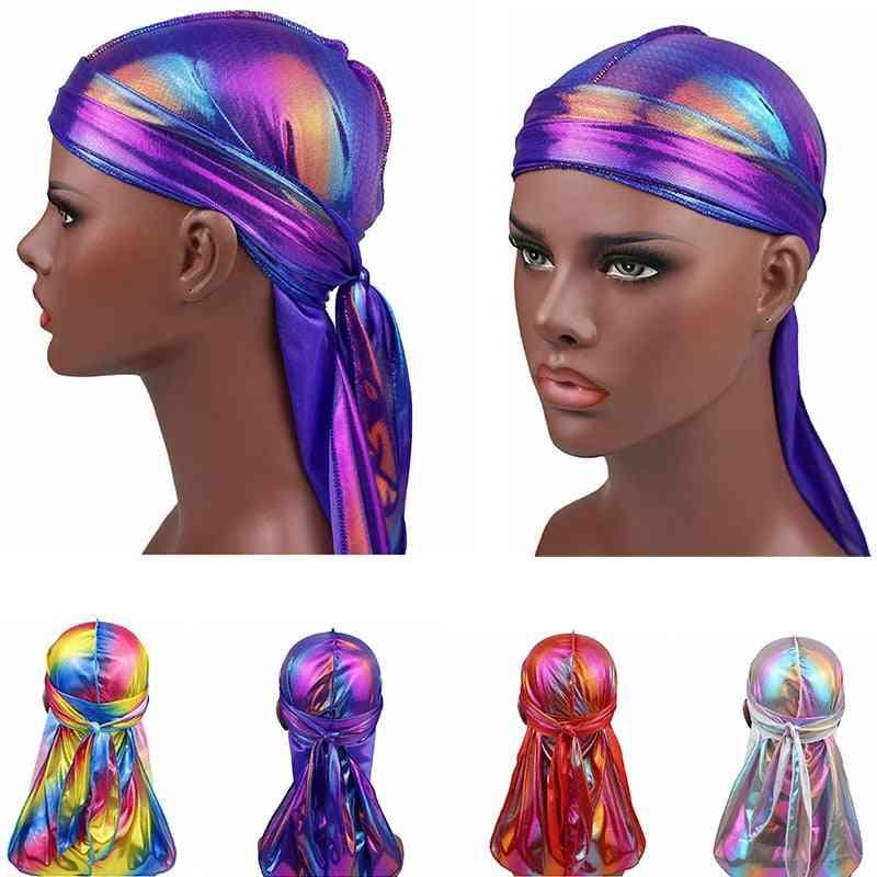 Men Sparkly Durags Turban Bandanas Headwear Silky Inside Wave Caps