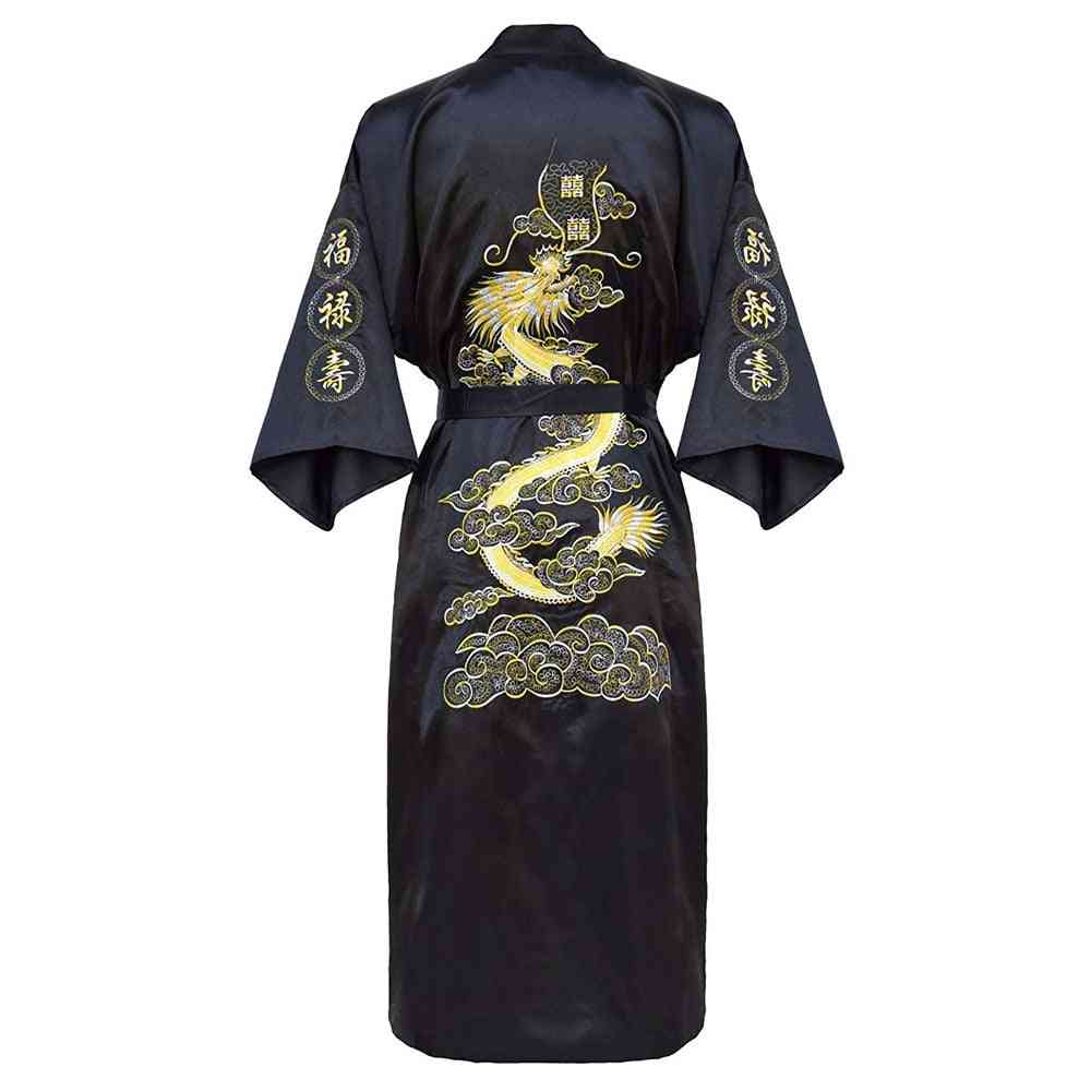 Luxury Kimono Bathrobe Gown, Sleepwear Loose Nightwear
