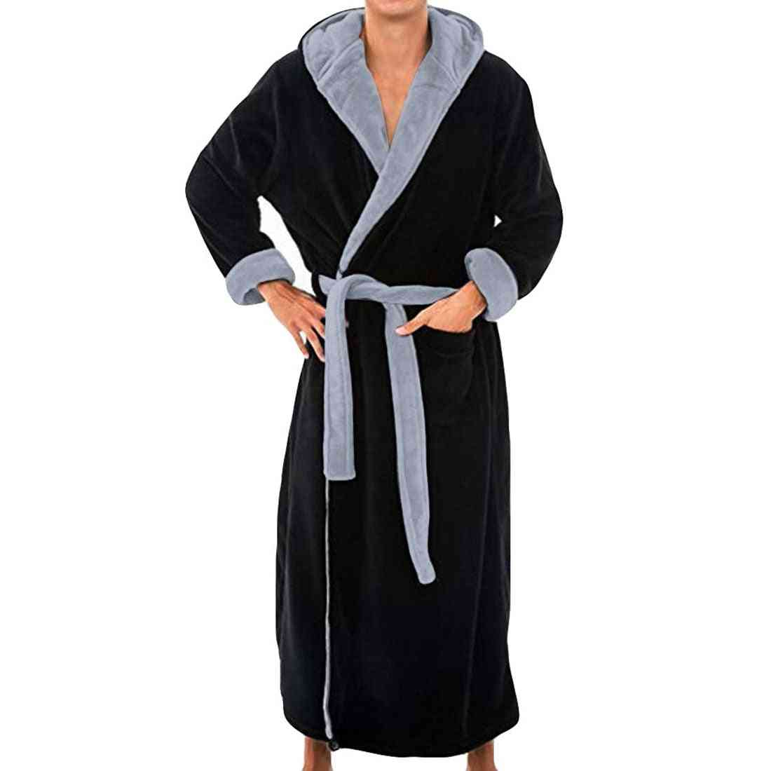 Flannel Hooded Thick Casual Winter Autumn Long Kimono Robe Pajama Nightgown