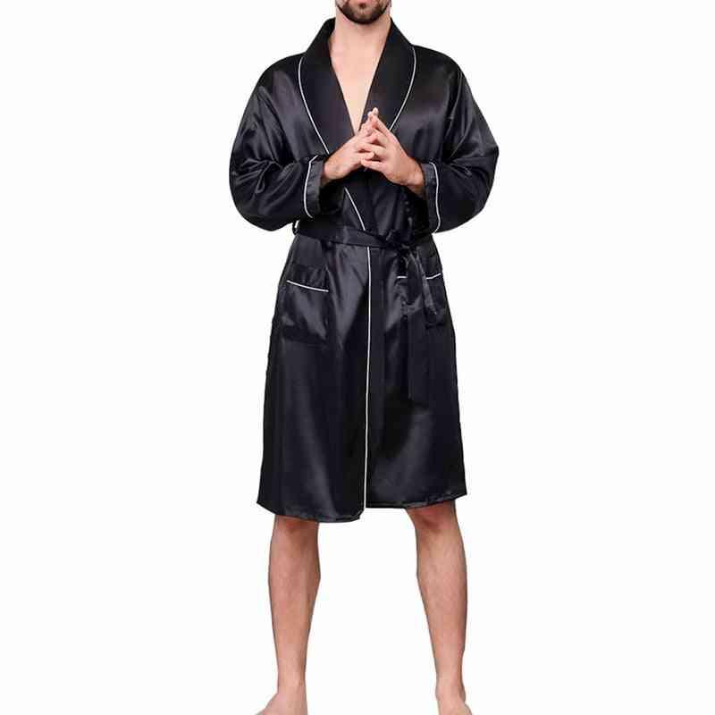 Men Lounge Sleepwear Faux Silk Nightwear, Comfort Silky Bathrobes Noble Dressing Gown