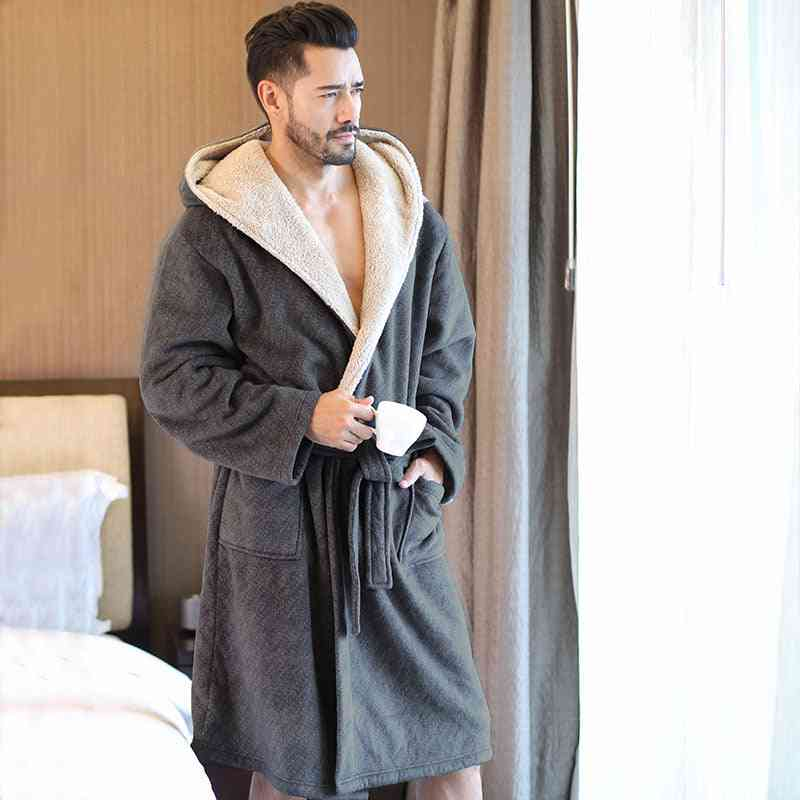 Men's Soft Flannel Hooded Bathrobes, Knee Length Gown