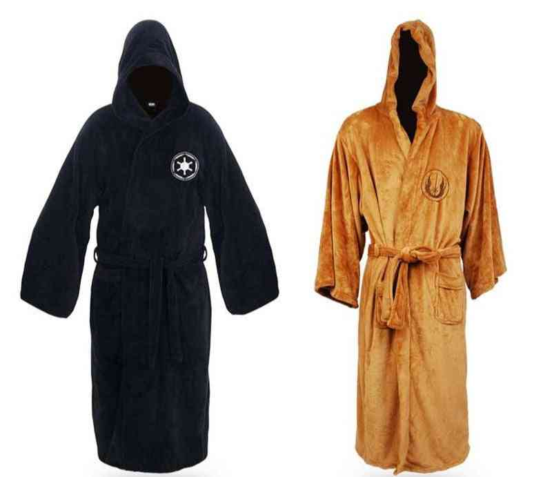 Men's Flannel Robe With Hooded, Thick Star Gown Dress