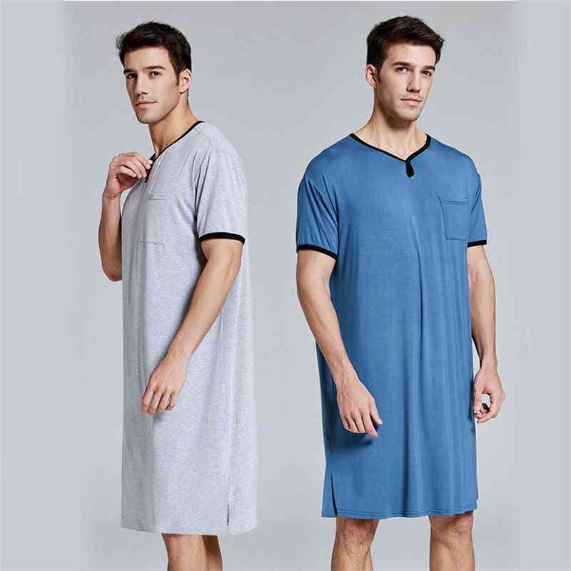 Men Sleep Robes Short Sleeve Solid Pajamas Pockets Cozy Cotton Vintage Nightgown