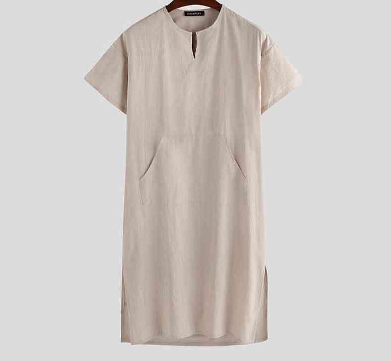 Men Robes Short Sleeve, V Neck,vintage Homewear