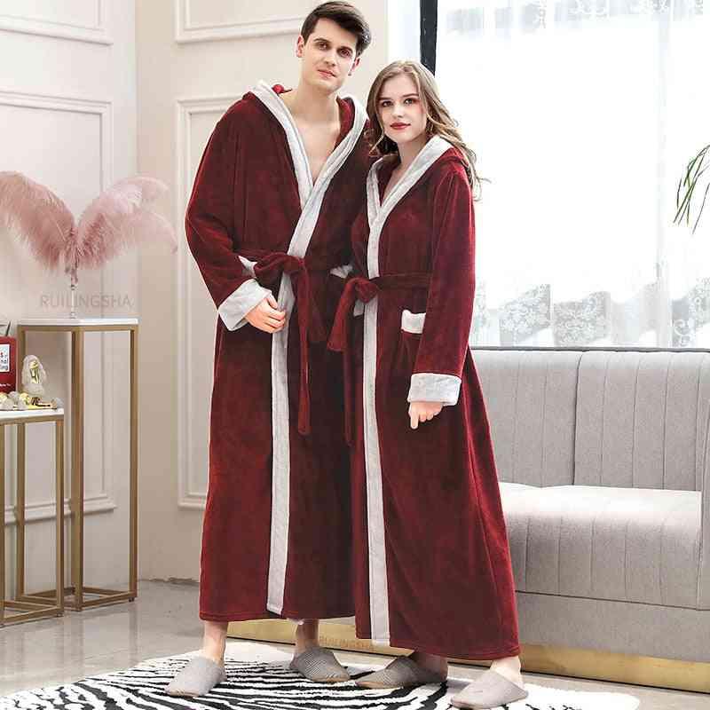 Men, Women Winter Plus Size Long, Cozy Flannel Bathrobe, Coral Fleece Sleepwear