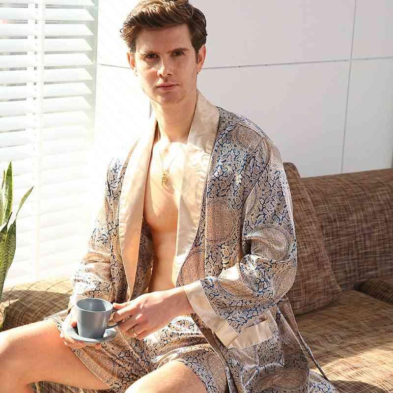 Silk Robe Pants Pajama Set, Long Sleeve Sleepwear