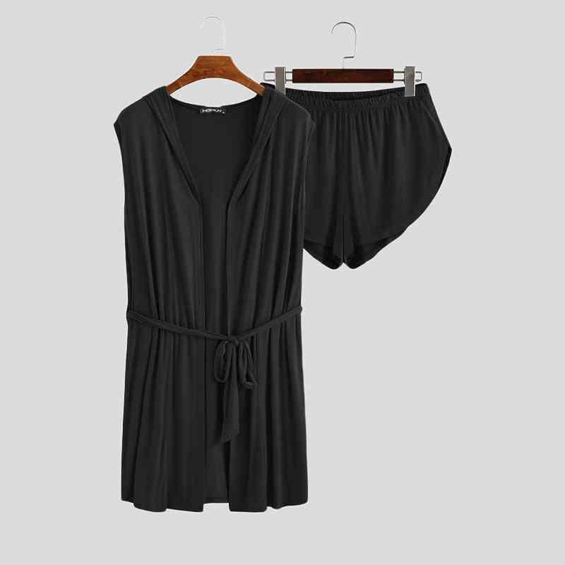 Summer Men's Robe Sets Loungewear, Hooded Sleeveless Bathrobe