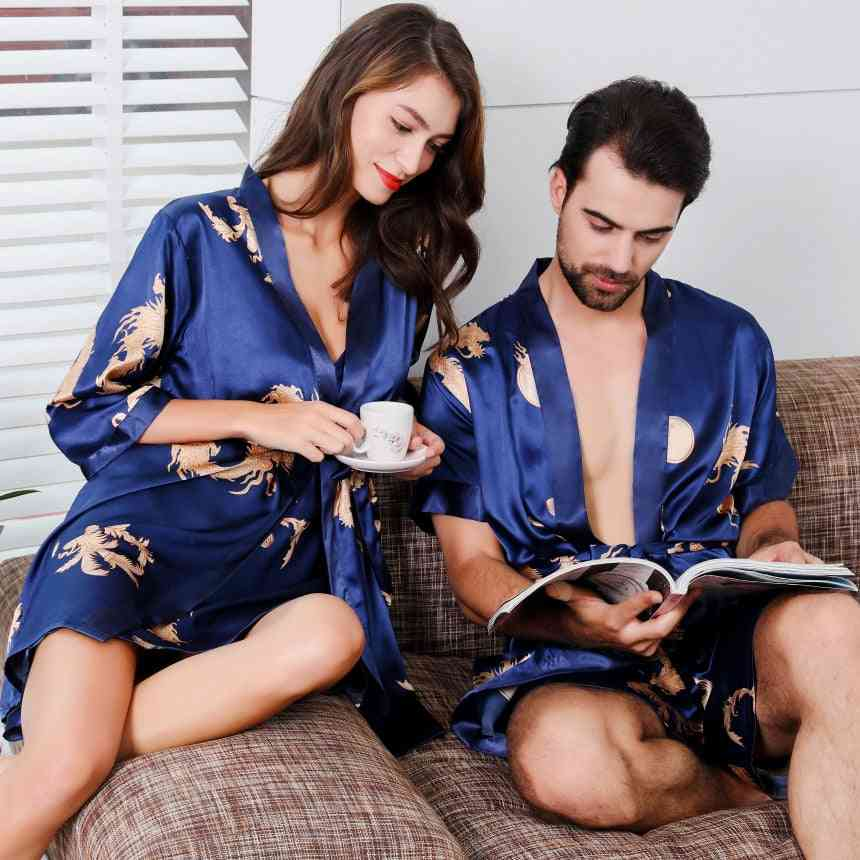 Women Nightgown, Short Sleeve Shorts Men's Bathrobe Imitation Silk Kimono Pajama