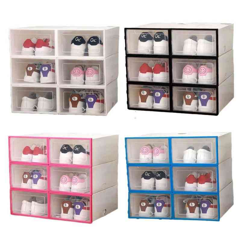 Plastic Stackable Foldable Shoe Drawer, Storage Case With Flipping Clear Door