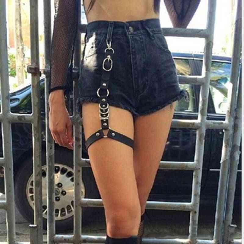 Street Punk, Leather Garters Belt, Waist Chain Thigh High Suspenders Straps
