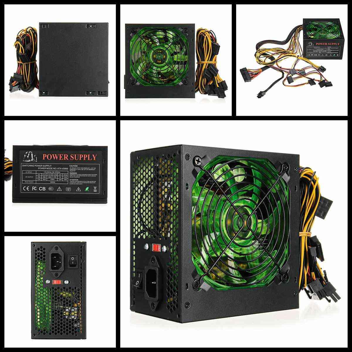 800w  110~220v Pc Power Supply 12cm Led Silent Fan With Intelligent Temperature Control Intel Amd Atx 12v