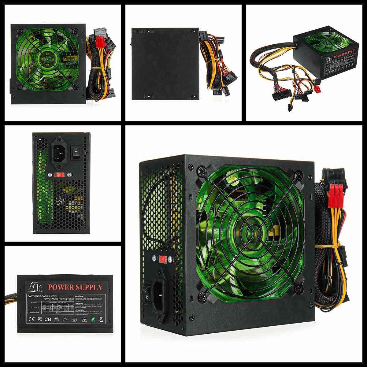 500w Pc Power Supply, 120mm Led Fan 24 Pin Pci Sata Atx 12v ,110220v For Desktop Gaming