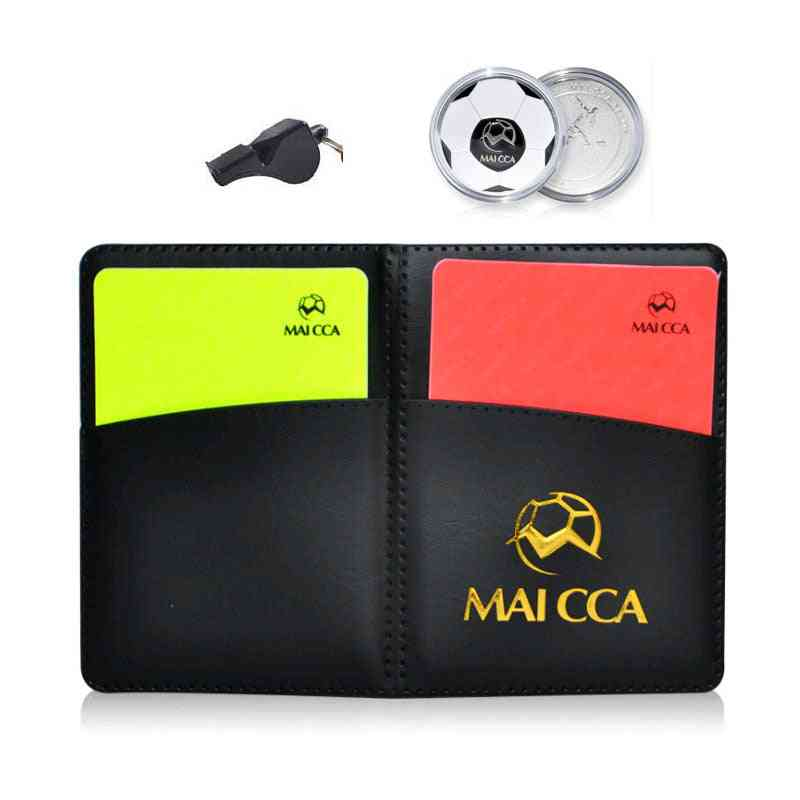 Football Referee, Cards Book Coins Set- Toss Unit Whistles, Game Match Equipment
