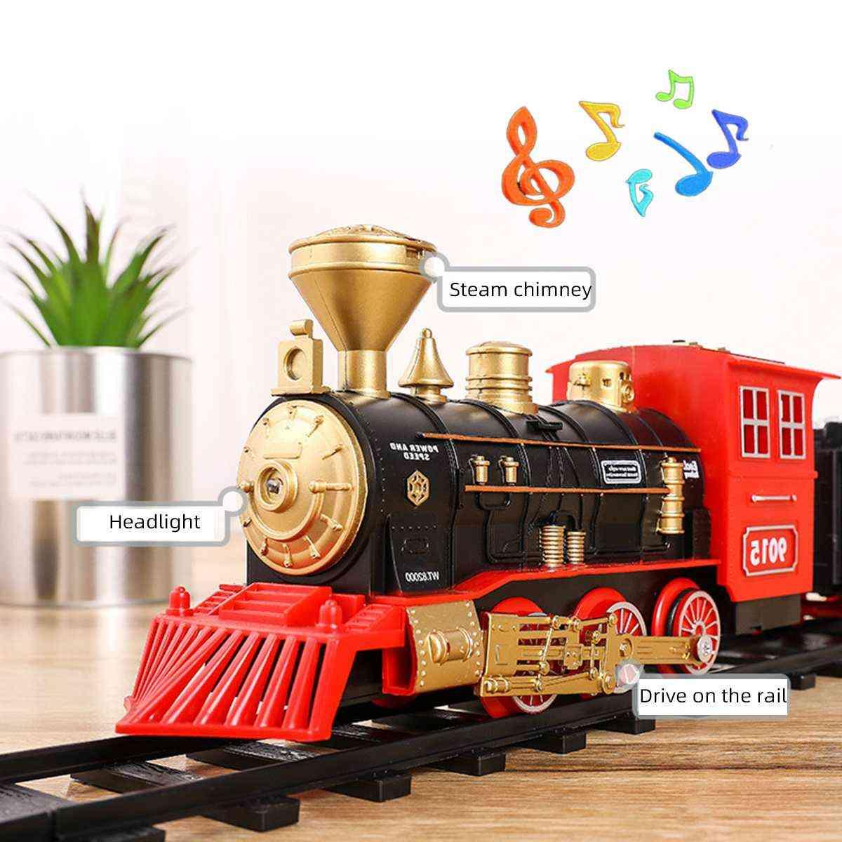 Electric Dynamic Steam, Train Model, Railway Set-car Circuit, Kids Toy