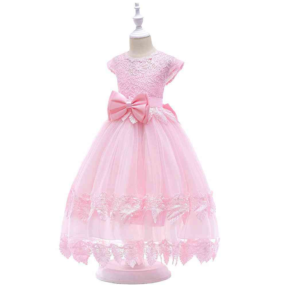 Big Bow, Lace Flower, Ankle Length, Pageant Party Dresses For