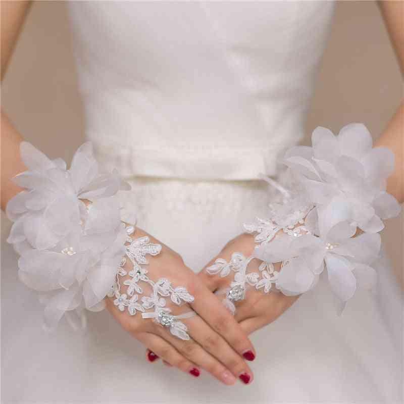 Evening Prom Accessories Gloves, Short Design Flower Decoration Bridal Glove