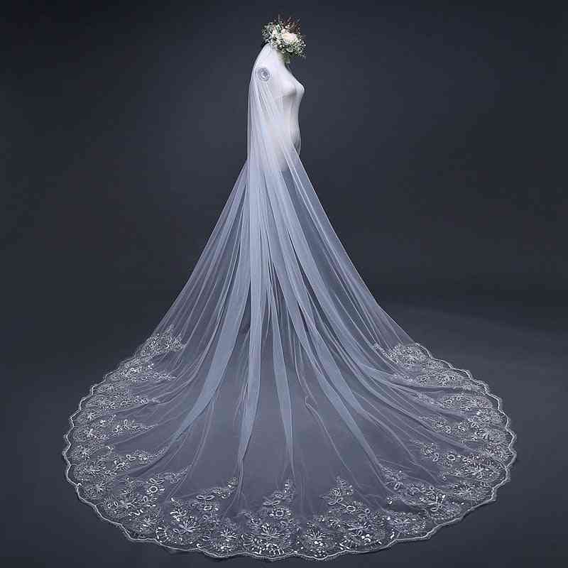 Cathedral Veils Long Lace Edge Bridal Veil With Comb