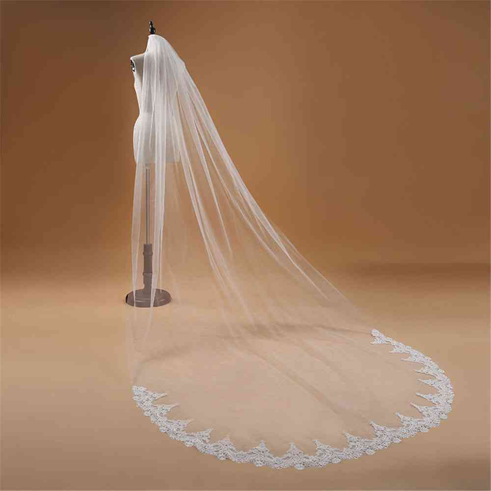 One Layer Lace Edge Cathedral Veil Long Bridal Accessories