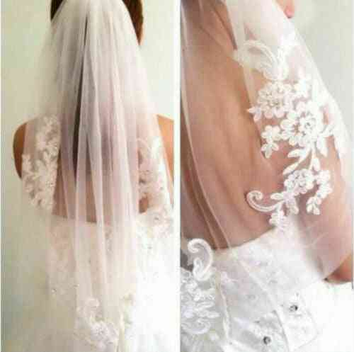 Lace Veil Elbow Bridal Accessories With Comb