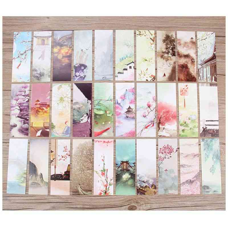 Flowers Paper Bookmarks Painting Cards