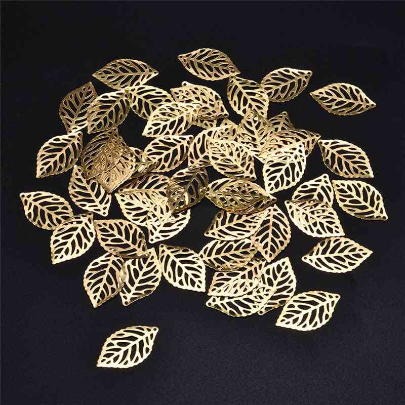 Metal Crafts Jewelry Diy Pendant Filigree Leaves