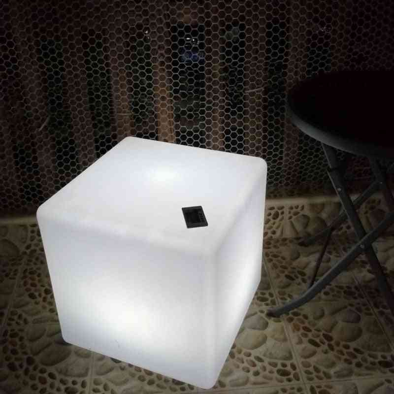 Led Cube Stool Seat- Glowing Chair, Patio Decorative Lighting With Changing Remote Control