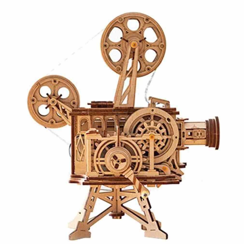 Hand Crank, 3d-film Projector, Wooden Tractor, Model Building Kit Toy