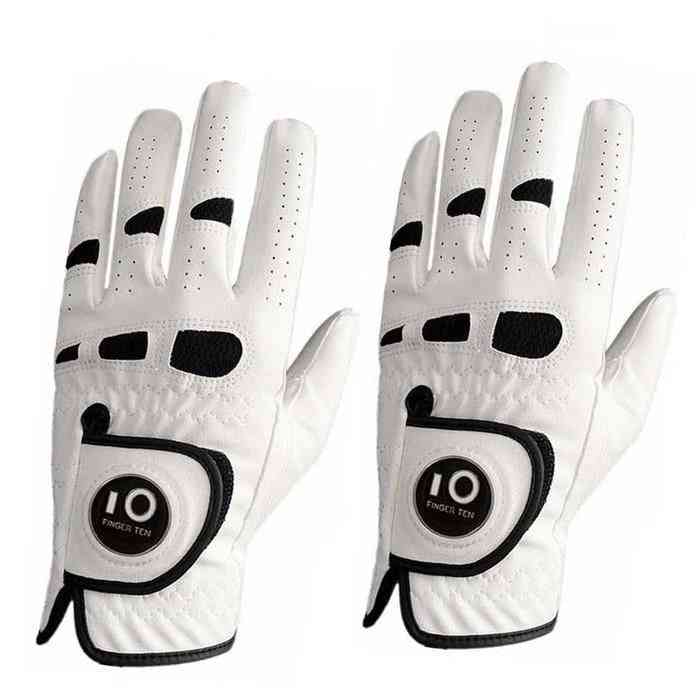 2-pack Pu Leather, Golf Gloves With Ball Marker, Left & Right Hand, Weather Grip