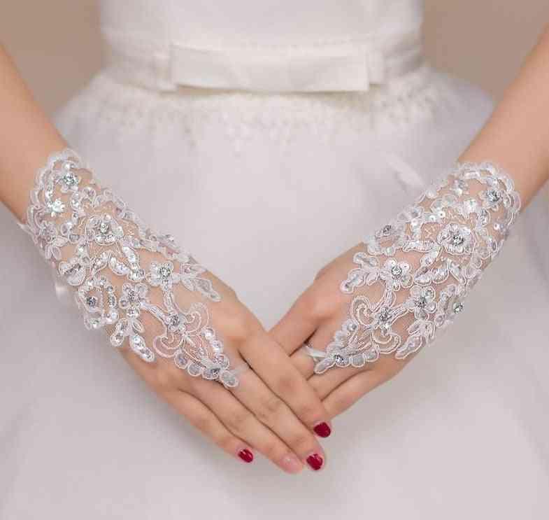 Elegant Beaded, Lace Satin, Short Fingerless Gloves