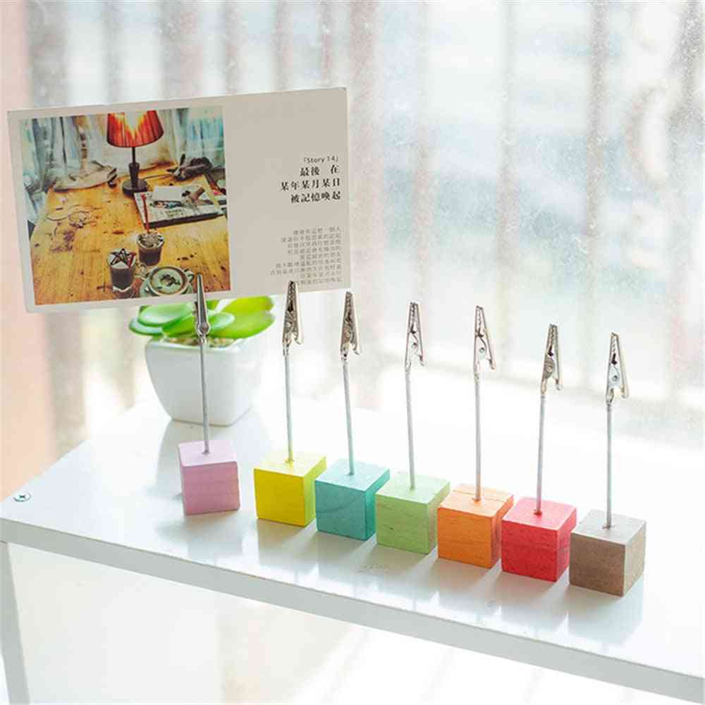 Wooden Cube Stand Card Holder